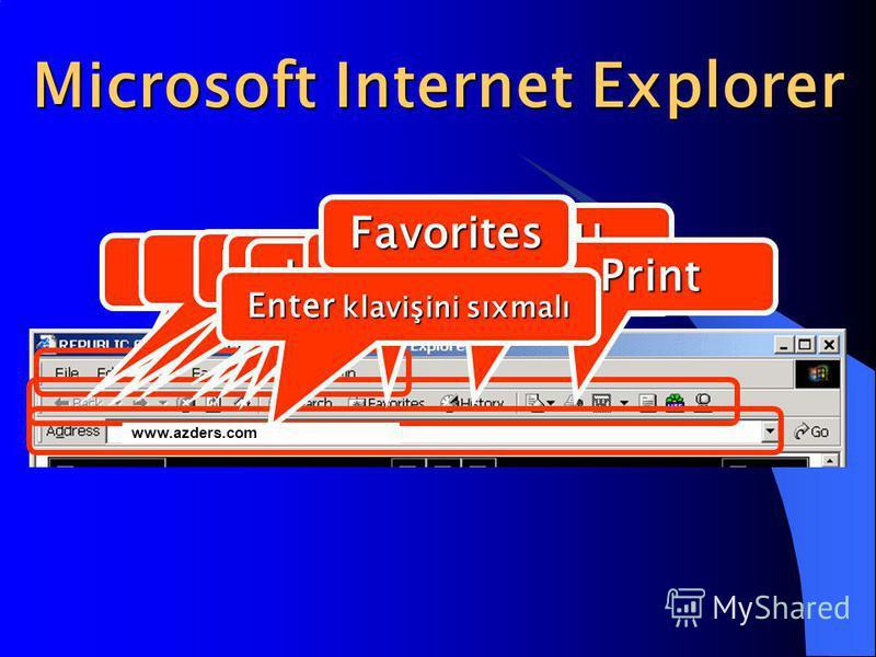Microsoft Internet Explorer MENYU Standart panel Ünvan Back Forward Stop Refresh (F5) Home Search History Print FavoritesFavorites www.azders.com Enter klavişini sıxmalı