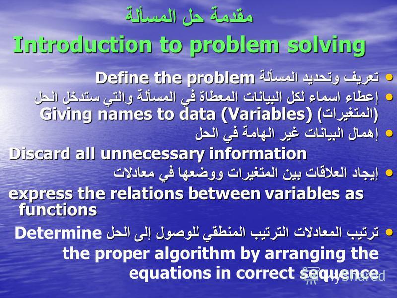 مقدمة حل المسألة Introduction to problem solving تعريف وتحديد المسألة Define the problem تعريف وتحديد المسألة Define the problem إعطاء اسماء لكل البيانات المعطاة في المسألة والتي ستدخل الحل ( المتغيرات ) Giving names to data (Variables) إعطاء اسماء ل