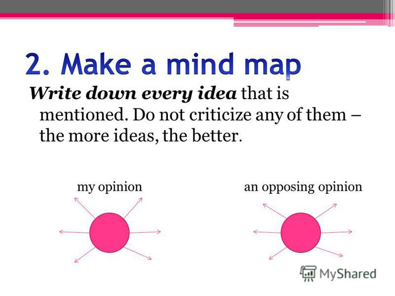 Write down every idea that is mentioned. Do not criticize any of them – the more ideas, the better. my opinion an opposing opinion