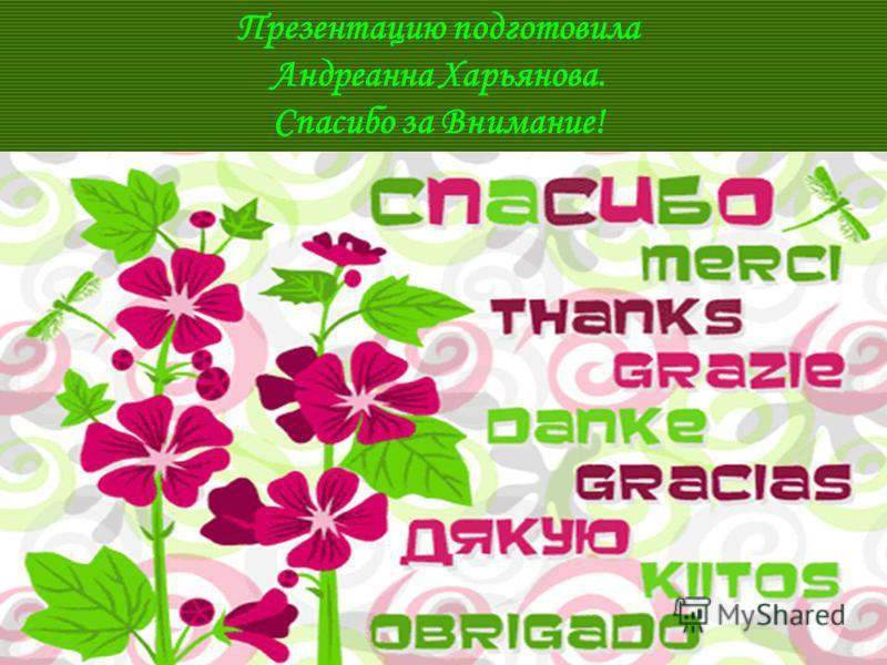 Презентацию подготовила Андреанна Харьянова. Спасибо за Внимание!