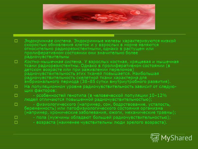 Эндокринная система. Эндокринные железы характеризуются низкой скоростью обновления клеток и у взрослых в норме являются относительно радиорезистентныеми, однако в растущем или пролиферативном состоянии они значительно более радио чувствительны Кост