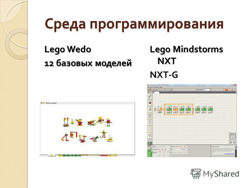 Среда программирования Среда программирования Lego Wedo 12 базовых моделей Lego Mindstorms NXT NXT-G