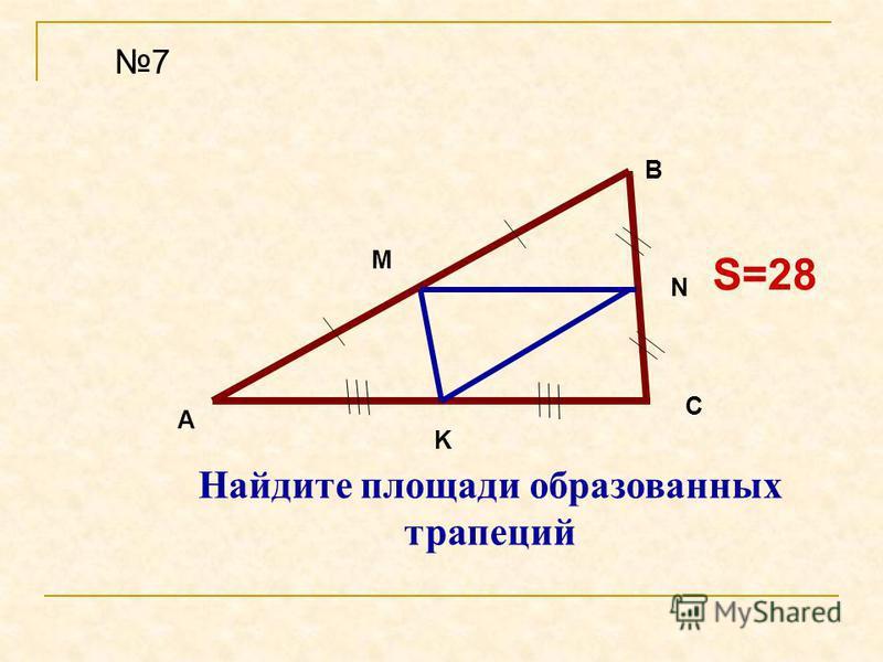 S=28 7 Найдите площади образованных трапеций A B C M N K