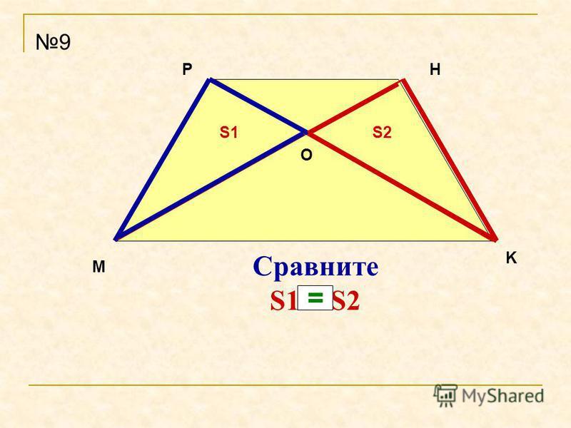 M PH K Сравните S1 и S2 9 О S1S2 =