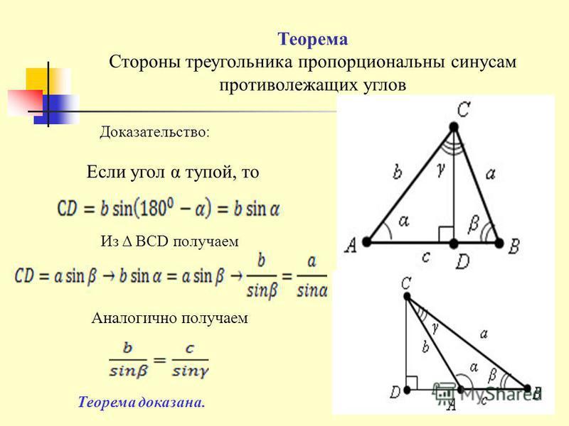 Теорема Стороны треугольника пропорциональны синусам противолежащих углов Доказательство: Если угол α тупой, то Из Δ BCD получаем Аналогично получаем Теорема доказана.