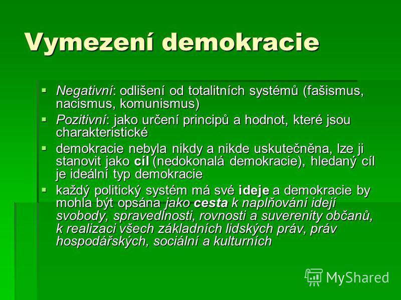 Vymezení demokracie Negativní: odlišení od totalitních systémů (fašismus, nacismus, komunismus) Negativní: odlišení od totalitních systémů (fašismus, nacismus, komunismus) Pozitivní: jako určení principů a hodnot, které jsou charakteristické Pozitivn
