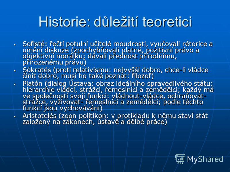 Historie: důležití teoretici Sofisté: řečtí potulní učitelé moudrosti, vyučovali rétorice a umění diskuze (zpochybňovali platné, pozitivní právo a objektivní morálku; dávali přednost přírodnímu, přirozenému právu) Sofisté: řečtí potulní učitelé moudr