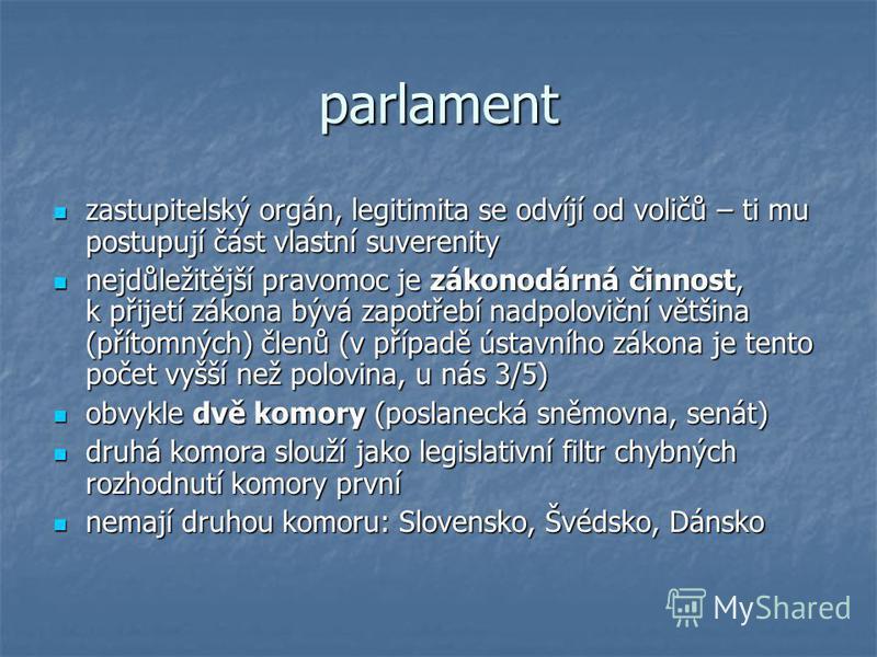 parlament zastupitelský orgán, legitimita se odvíjí od voličů – ti mu postupují část vlastní suverenity zastupitelský orgán, legitimita se odvíjí od voličů – ti mu postupují část vlastní suverenity nejdůležitější pravomoc je zákonodárná činnost, k př