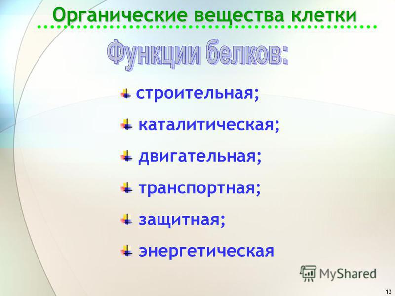 13 Органические вещества клетки строительная; каталитическая; двигательная; транспортная; защитная; энергетическая