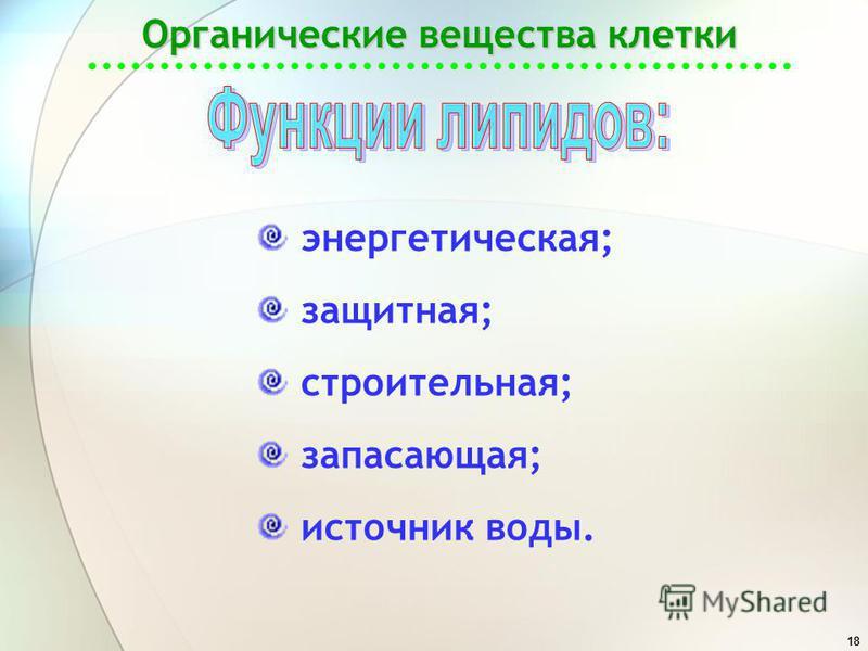 18 Органические вещества клетки энергетическая; защитная; строительная; запасающая; источник воды.