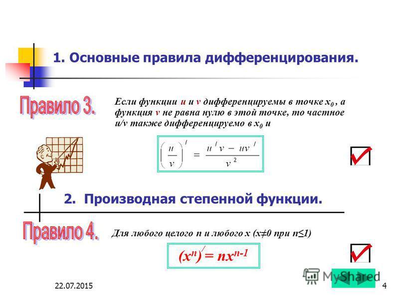 22.07.20154 1. Основные правила дифференцирования. Если функции u и v дифференцируемы в точке х 0, а функция v не равна нулю в этой точке, то частное u/v также дифференцируемо в х 0 и 2. Производная степенной функции. Для любого целого n и любого х (