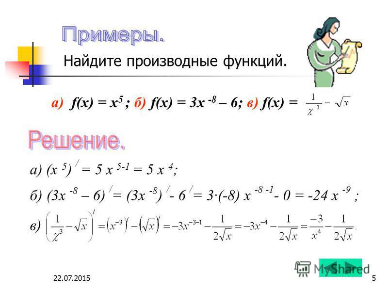 22.07.20155 а) f(x) = x 5 ; б) f(x) = 3x -8 – 6; в) f(x) = а) (x 5 ) / = 5 х 5-1 = 5 х 4 ; б) (3x -8 – 6) / = (3x -8 ) / - 6 / = 3·(-8) х -8 -1 - 0 = -24 х -9 ; в) Найдите производные функций.