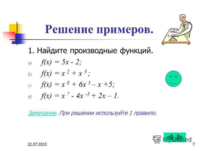 22.07.20157 Решение примеров. 1. Найдите производные функций. a) f(x) = 5 х - 2; b) f(x) = x 2 + х 3 ; c) f(x) = x 8 + 6 х 3 – х +5; d) f(x) = x 7 - 4 х -5 + 2 х – 1. Замечание. При решении используйте 1 правило.