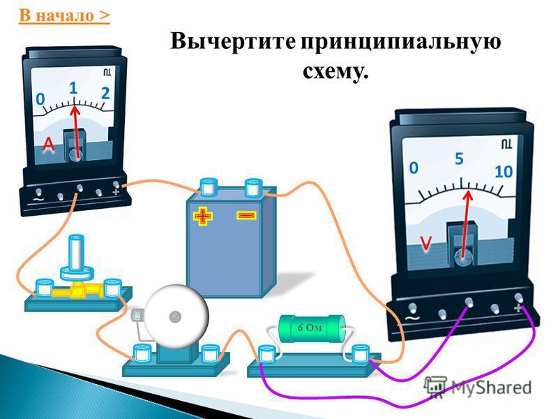 0 1 2 A A 0 5 10 V V Вычертите принципиальную схему этой цепи.