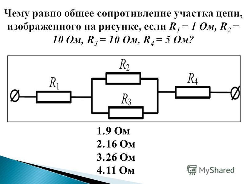 При последовательном соединении При параллельном соединении I 1 = I 2 = I U = U 1 + U 2 = IR R = R 1 + R 2 …соединение, при котором конец предыдущего проводника соединяется с началом только одного – последующего. U 1 = U 2 = U I = I 1 + I 2 … соедине