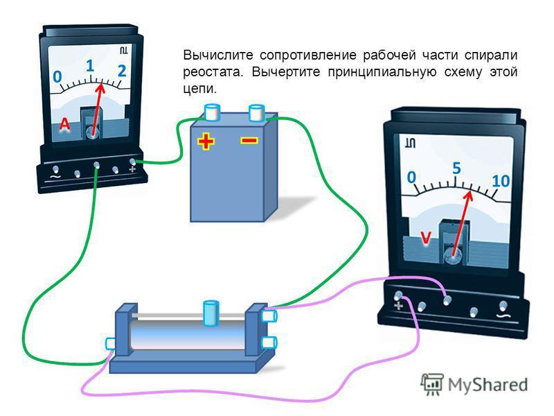 0 1 2 A A 0 5 10 V V Вычислите сопротивление спирали лампы. Вычертите принципиальную схему этой цепи.