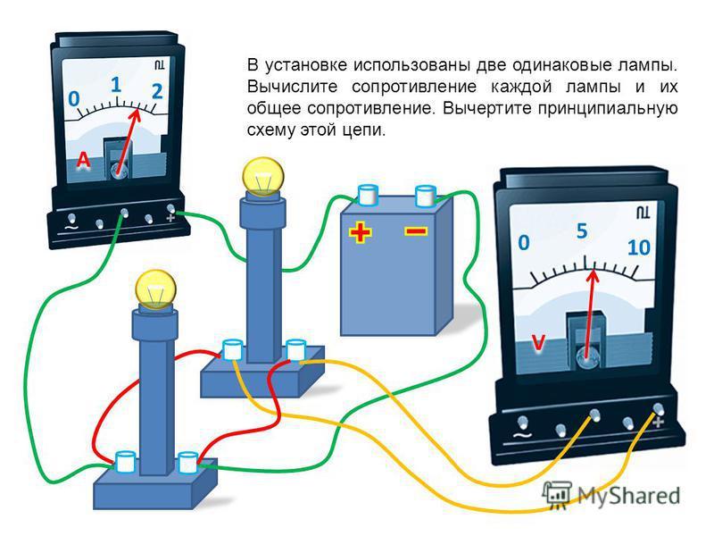 0 1 2 A A 0 5 10 V V В установке использованы две одинаковые лампы. Вычислите их общее сопротивление. Вычертите принципиальную схему этой цепи.