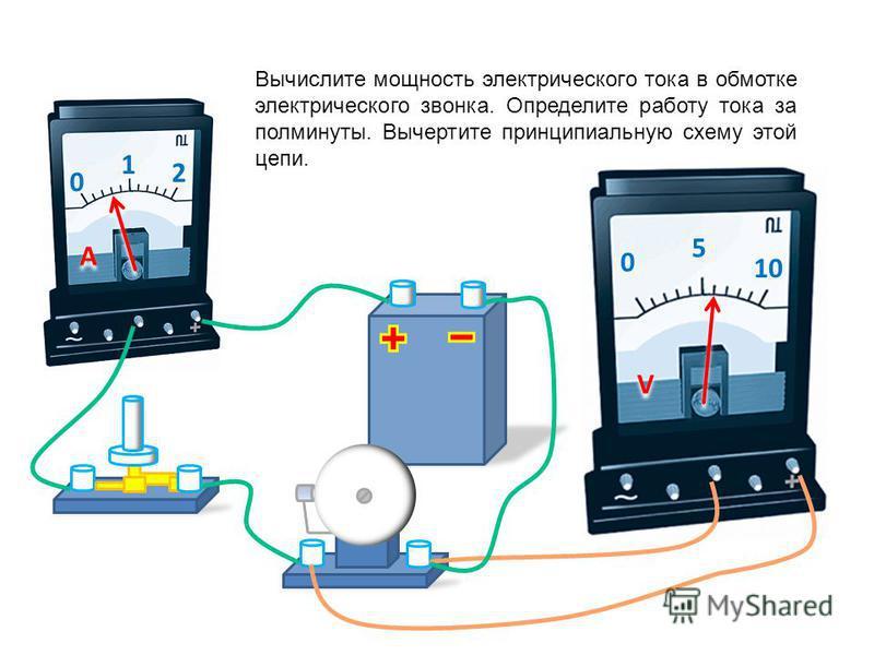 0 1 2 A A 0 5 10 V V Вычислите полное сопротивление спирали реостата, если движок установлен ровно в среднем положении. Вычертите принципиальную схему этой цепи.