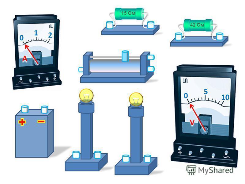 Для составления электрических цепей копируй готовые рисунки на чистый слайд. Затем соединяй элементы цепи проводниками. Не забывай стрелку измерительных приборов поворачивать на нужную величину. Недостающие элементы нарисуй сам. Вычерчивай принципиал
