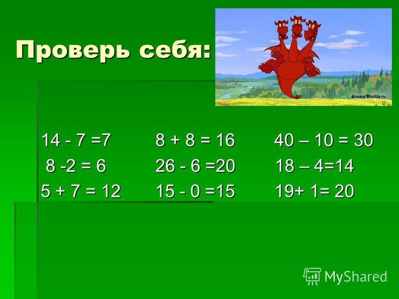 Проверь себя: 14 - 7 =7 8 + 8 = 16 40 – 10 = 30 8 -2 = 6 26 - 6 =20 18 – 4=14 8 -2 = 6 26 - 6 =20 18 – 4=14 5 + 7 = 12 15 - 0 =15 19+ 1= 20
