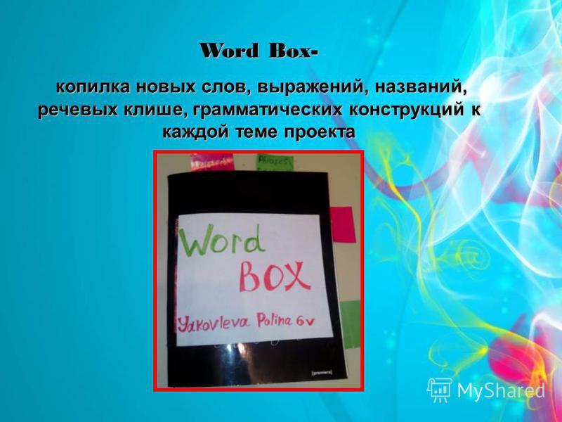 Word Box- копилка новых слов, выражений, названий, речевых клише, грамматических конструкций к каждой теме проекта копилка новых слов, выражений, названий, речевых клише, грамматических конструкций к каждой теме проекта