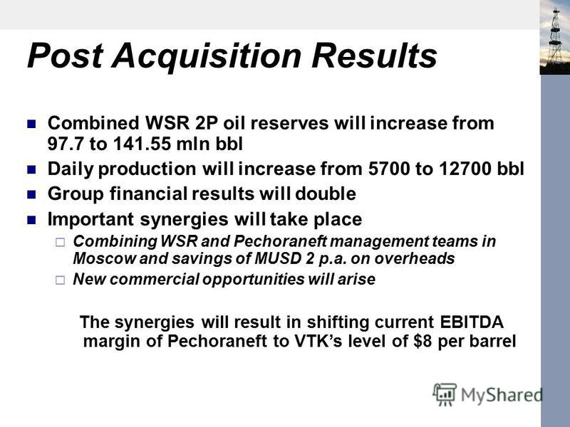 Post Acquisition Results Combined WSR 2P oil reserves will increase from 97.7 to 141.55 mln bbl Daily production will increase from 5700 to 12700 bbl Group financial results will double Important synergies will take place Combining WSR and Pechoranef