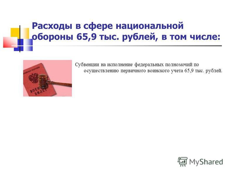 Расходы в сфере национальной обороны 65,9 тыс. рублей, в том числе: Субвенции на исполнение федеральных полномочий по осуществлению первичного воинского учета 65,9 тыс. рублей.