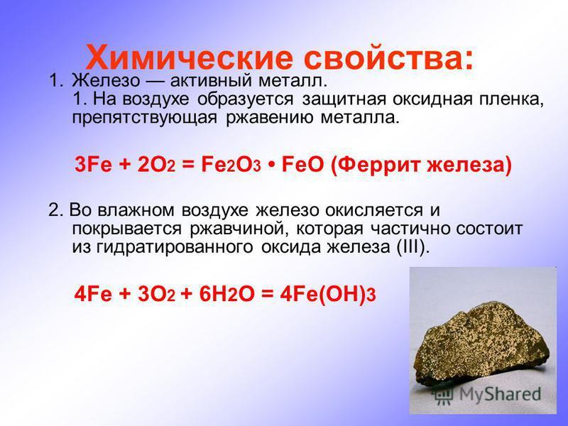 Химические свойства: 1. Железо активный металл. 1. На воздухе образуется защитная оксидная пленка, препятствующая ржавению металла. 3Fe + 2O 2 = Fe 2 O 3 FeO (Феррит железа) 2. Во влажном воздухе железо окисляется и покрывается ржавчиной, которая час