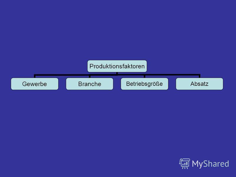 Produktionsfaktoren GewerbeBrancheBetriebsgrößeAbsatz