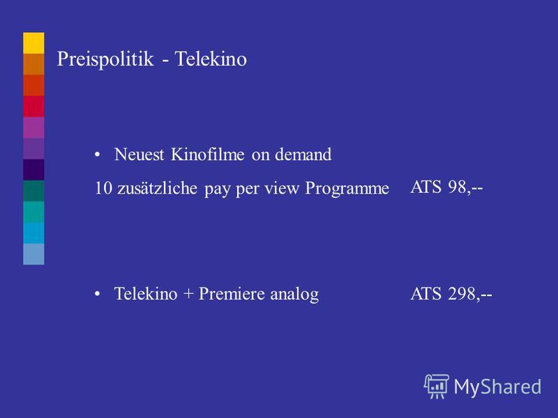 Preispolitik - TV Entgelte In ATS monatliche Zahlung223,- Vierteljahreszahlung215,- Halbjahreszahlung207,- Jahreszahlung199,-