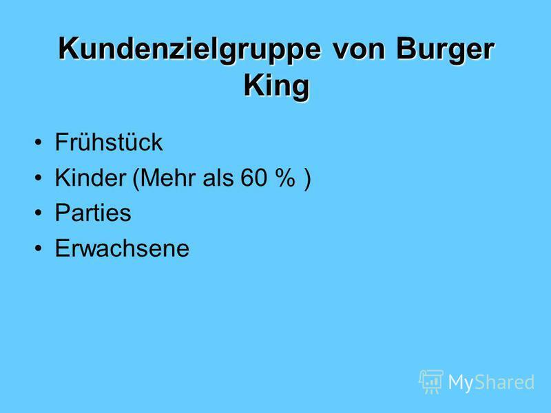 Kundenzielgruppe von Burger King Frühstück Kinder (Mehr als 60 % ) Parties Erwachsene