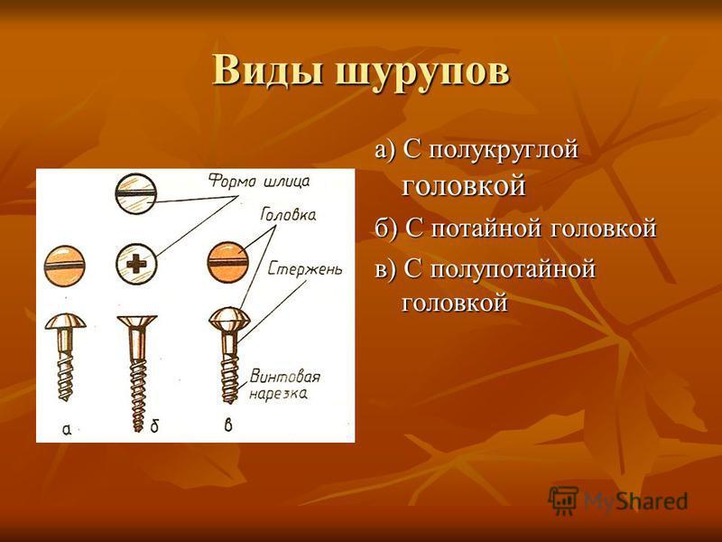 Виды шурупов а) С полукруглой головкой б) С потайной головкой в) С полупотайной головкой