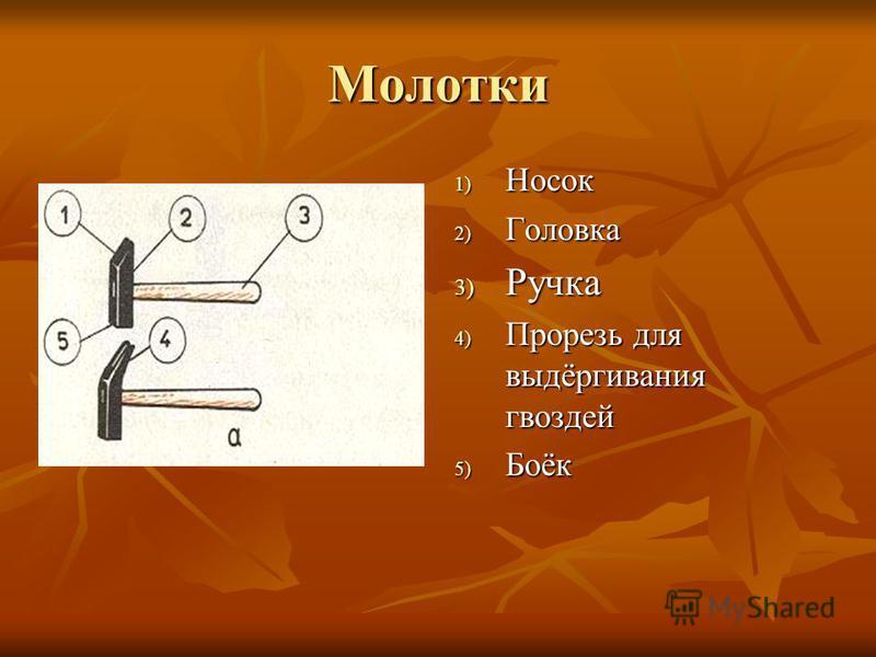 Молотки 1) Носок 2) Головка 3) Ручка 4) Прорезь для выдёргивания гвоздей 5) Боёк