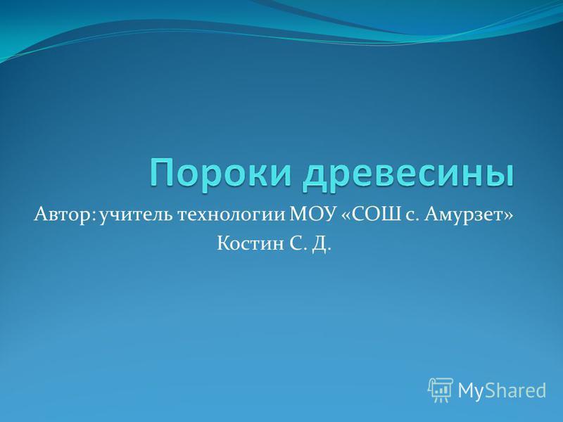 Автор: учитель технологии МОУ «СОШ с. Амурзет» Костин С. Д.