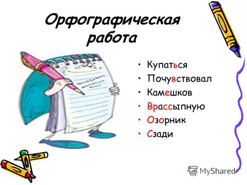 Орфографическая работа Купаться Почувствовал Камешков Врассыпную Озорник Сзади