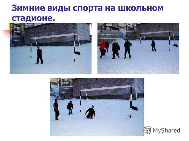 Зимние виды спорта на школьном стадионе.