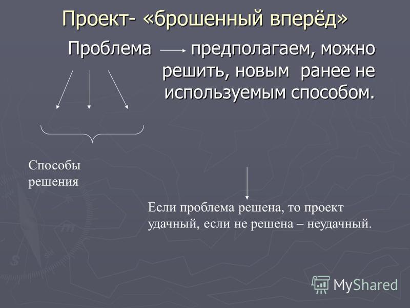 Проект- «брошенный вперёд» Проблема предполагаем, можно решить, новым ранее не используемым способом. Способы решения Если проблема решена, то проект удачный, если не решена – неудачный.