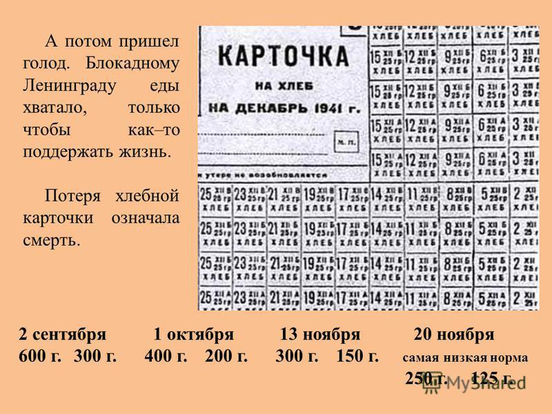 А потом пришел голод. Блокадному Ленинграду еды хватало, только чтобы как–то поддержать жизнь. Потеря хлебной карточки означала смерть. 2 сентября 1 октября 13 ноября 20 ноября 600 г. 300 г. 400 г. 200 г. 300 г. 150 г. самая низкая норма 250 г. 125 г