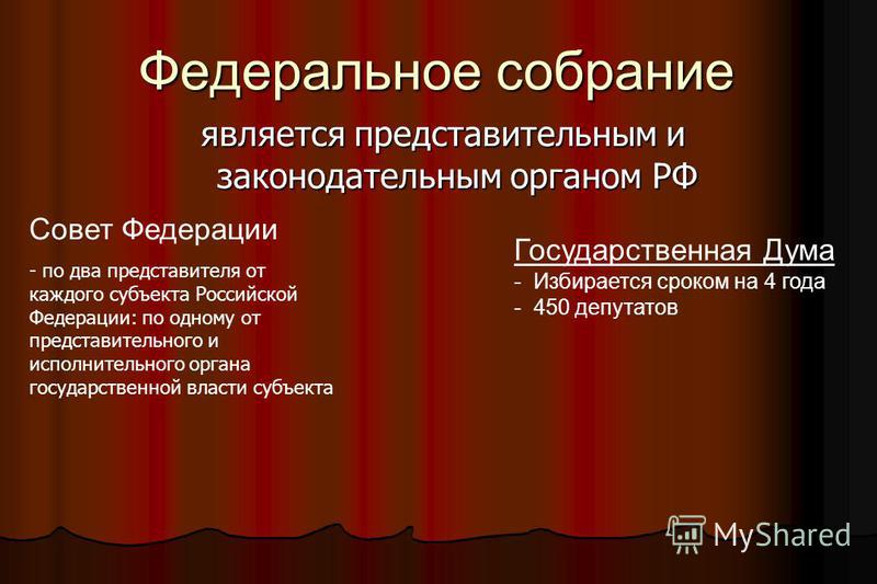 Федеральное собрание является представительным и законодательным органом РФ Государственная Дума - Избирается сроком на 4 года - 450 депутатов Совет Федерации - по два представителя от каждого субъекта Российской Федерации: по одному от представитель