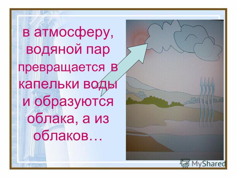 в атмосферу, водяной пар превращается в капельки воды и образуются облака, а из облаков…