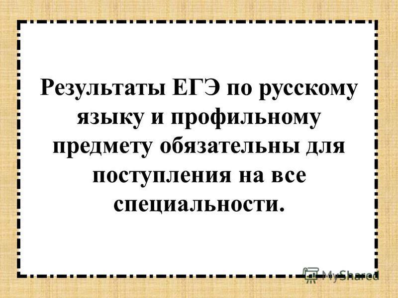 Результаты ЕГЭ по русскому языку и профильному предмету обязательны для поступления на все специальности.
