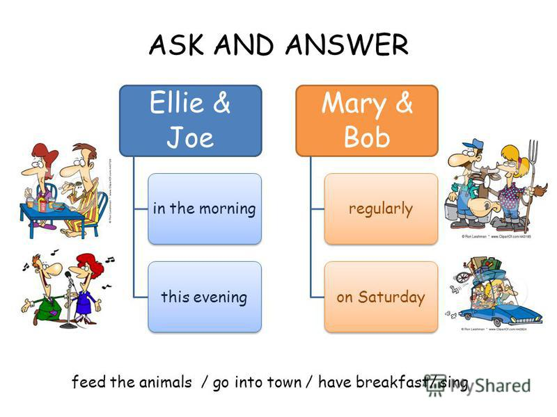 ASK AND ANSWER feed the animals / go into town / have breakfast/ sing Ellie & Joe in the morningthis evening Mary & Bob regularlyon Saturday