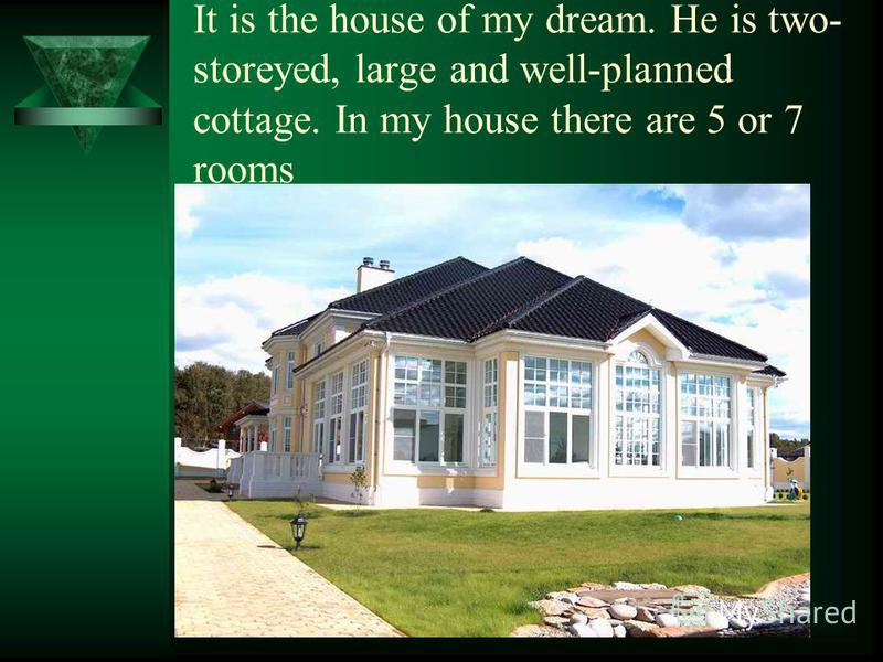 It is the house of my dream. He is two- storeyed, large and well-planned cottage. In my house there are 5 or 7 rooms