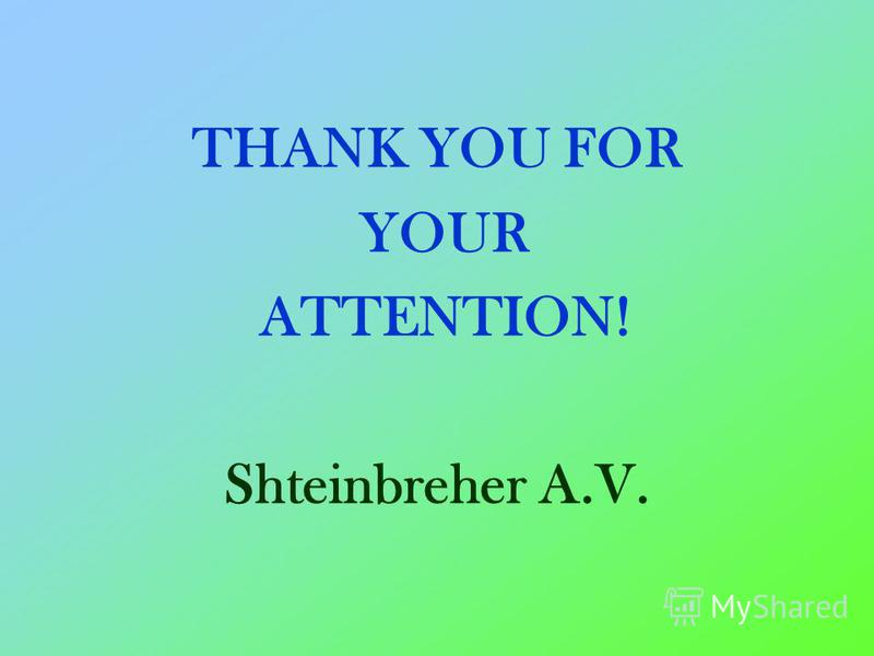 THANK YOU FOR YOUR ATTENTION! Shteinbreher A.V.