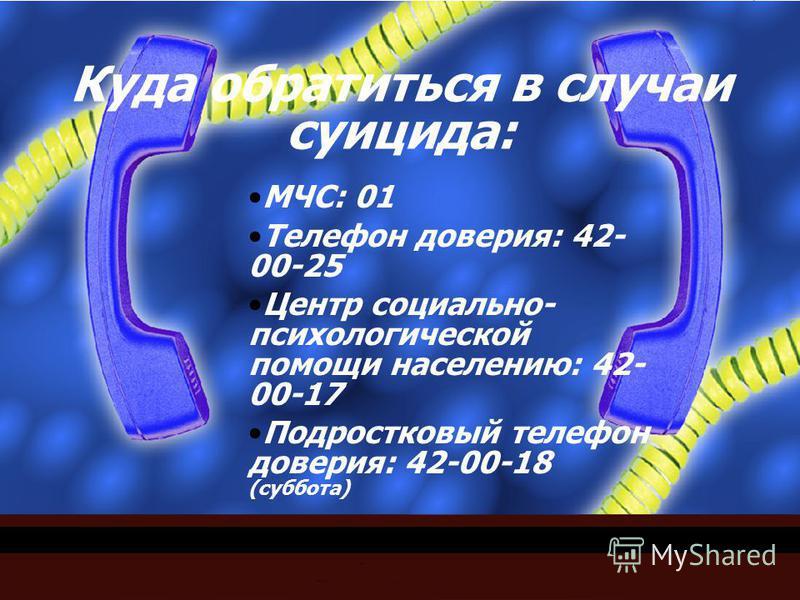 Куда обратиться в случаи суицида: МЧС: 01 Телефон доверия: 42- 00-25 Центр социально- психологической помощи населению: 42- 00-17 Подростковый телефон доверия: 42-00-18 (суббота)