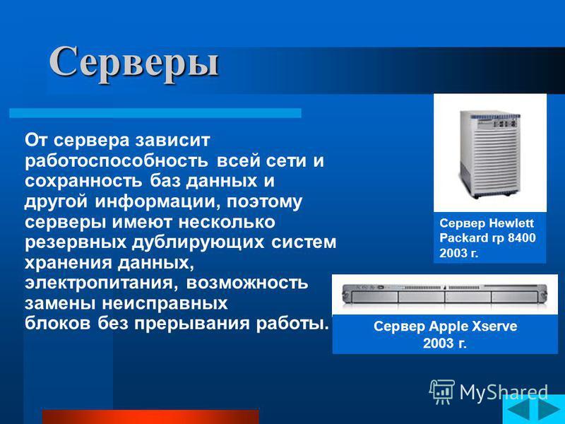 Серверы Это компьютеры, которые служат центральными узлами в компьютерных сетях. На серверах устанавливается программное обеспечение, позволяющее управлять работой сети. На серверах хранится информация, которой могут пользоваться все компьютеры, подк