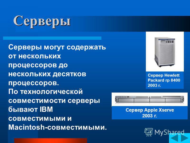 Серверы Сервер Hewlett Packard rp 8400 2003 г. Сервер Apple Xserve 2003 г. От сервера зависит работоспособность всей сети и сохранность баз данных и другой информации, поэтому серверы имеют несколько резервных дублирующих систем хранения данных, элек