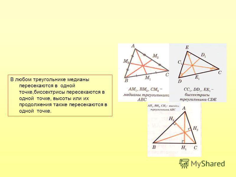 В любом треугольнике медианы пересекаются в одной точке,биссектрисы пересекаются в одной точке, высоты или их продолжения также пересекаются в одной точке.