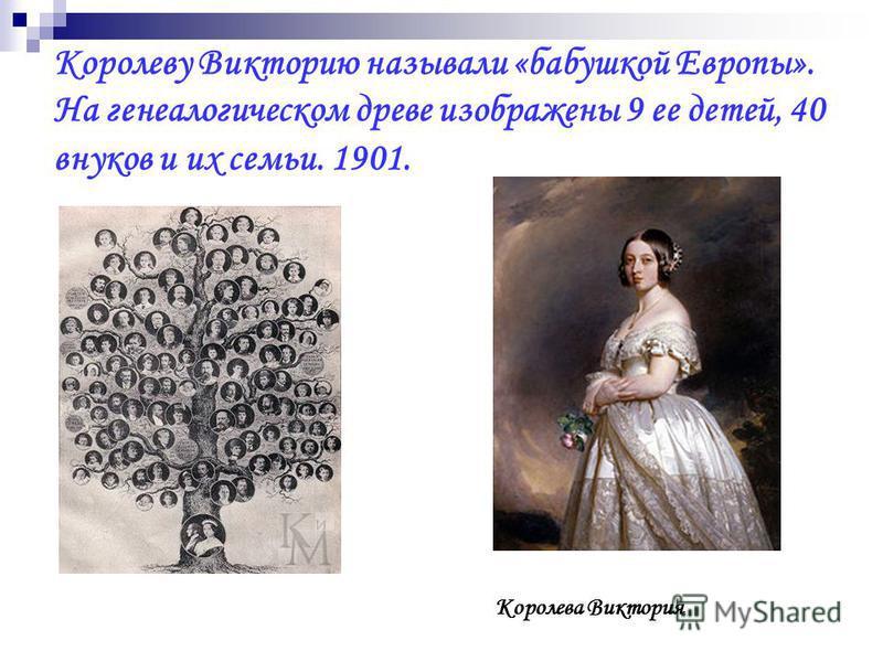 Королеву Викторию называли «бабушкой Европы». На генеалогическом древе изображены 9 ее детей, 40 внуков и их семьи. 1901. Королева Виктория