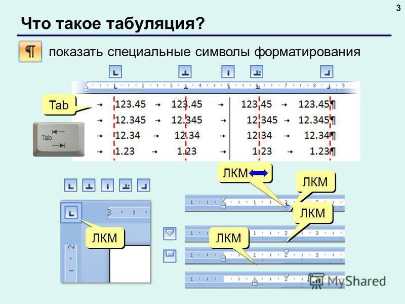 Что такое табуляция? 3 ЛКМ Tab показать специальные символы форматирования ЛКМ